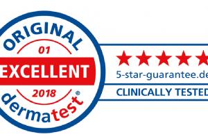 世界的権威のドイツ皮膚科学研究所「Dermatest」認証で最高ランクの5つ星評価を獲得しました。